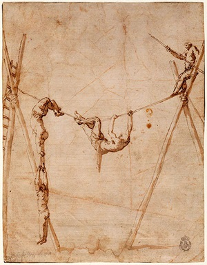 Jusepe de Ribera (Spanish, 1591-1652), Acrobats on a Loose Wire, late 1630s. Pen and brown ink and brown wash on beige paper. Museo de la Real Academia de Bellas de Artes, San Fernando, Madrid