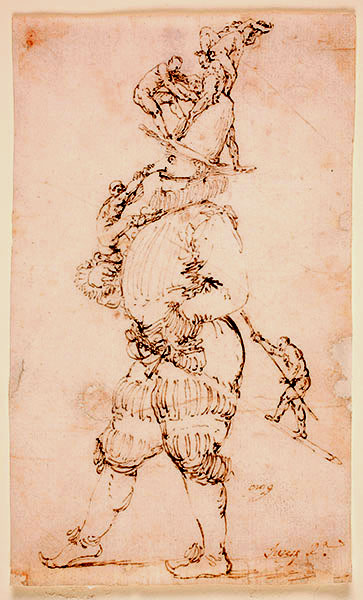 Jusepe de Ribera (Spanish, 1591-1652), A Masked Man with Small Figures Clambering Up his Body, late 1620s. Pen and brown ink on laid paper. Museo Nacional del Prado, Madrid