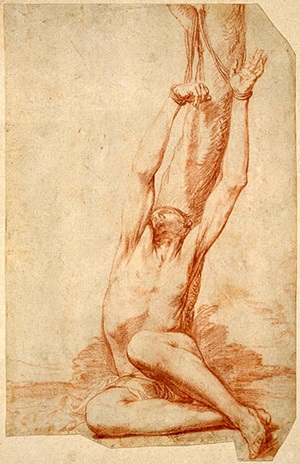 Jusepe de Ribera (Spanish, 1591-1652), Study for Martyrdom of St. Sebastian, ca. 1626. Red chalk on paper. William Lowe Bryan Memorial, Indiana University Art Museum