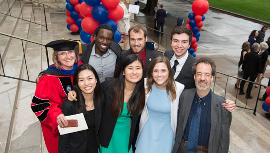 Physics students with Professors Jodi Cooley and Bob Kehoe at SMU Honors Convocation