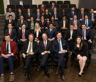 Michael Bloomberg with SMU Tower Scholars at the Tower Center Medal of Freedom Forum, Jan. 29, 2018