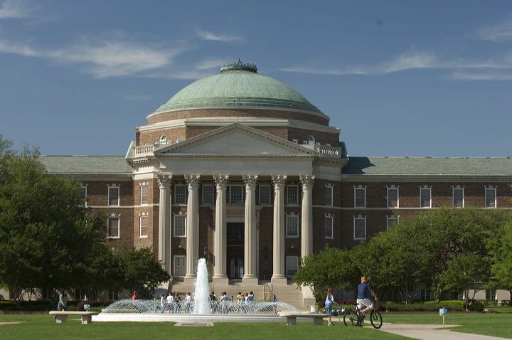 Dallas Hall with Fountain in the foreground