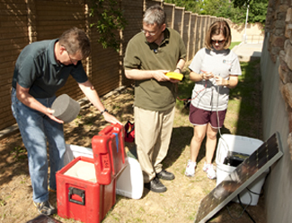 SMU geological team installs seismic equipment