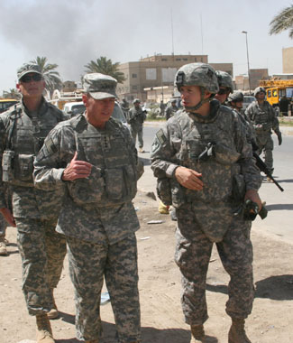 Jeff Talley with General David Petraeus in Baghdad in June 2008