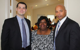 Left to right are: Justin Freeman, SMU Dedman Law student, Pat Stephens, Director of Westmoreland Heights Community Center, and Darrell Guy, General Attorney for AT&T, Inc.