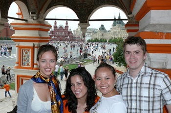 Student bloggers Emily (left) and Drew (right) blog about their studies and travels during SMU-in-Moscow.