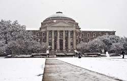 Dallas Hall during snow fall on 11 February 2010