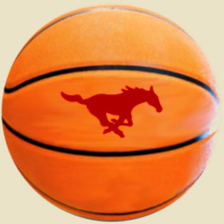 basketball with Mustangs logo