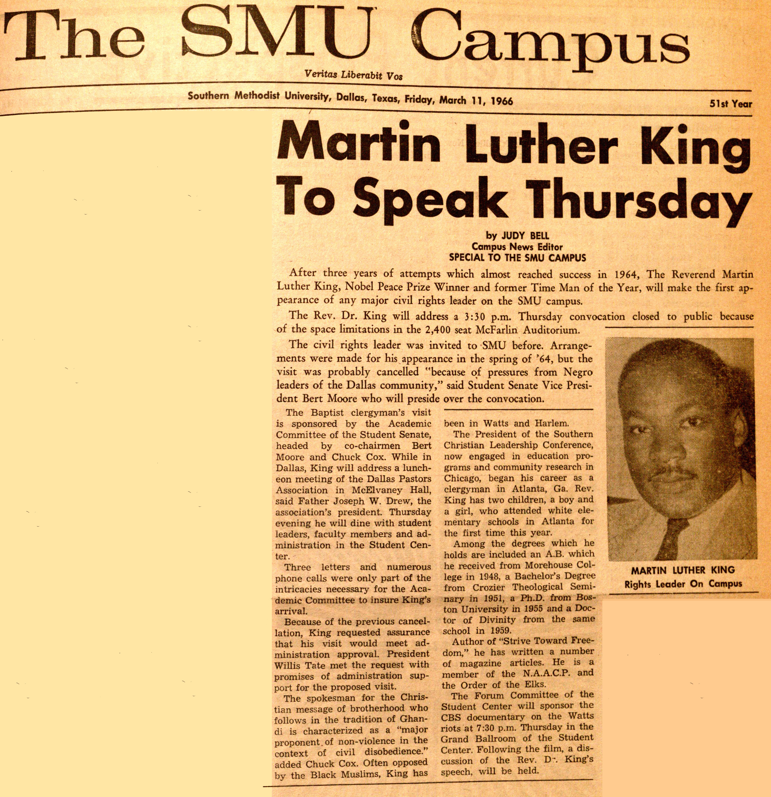 Dr. Martin Luther King Jr. at SMU in 1966