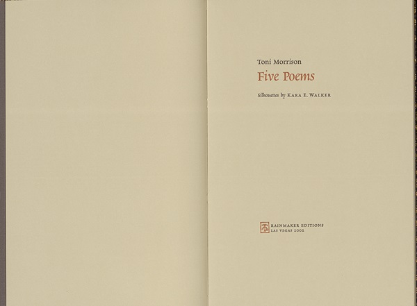"Title page from Toni Morrison's ""Five Poems"""