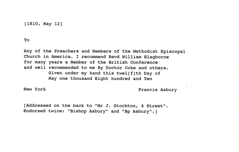 Francis asbury letter of introduction may 12 1810 smu francis asbury letter of introduction recommending rev william blagborne to the preachers and members of the methodist episcopal church may 12 1810 altavistaventures Choice Image