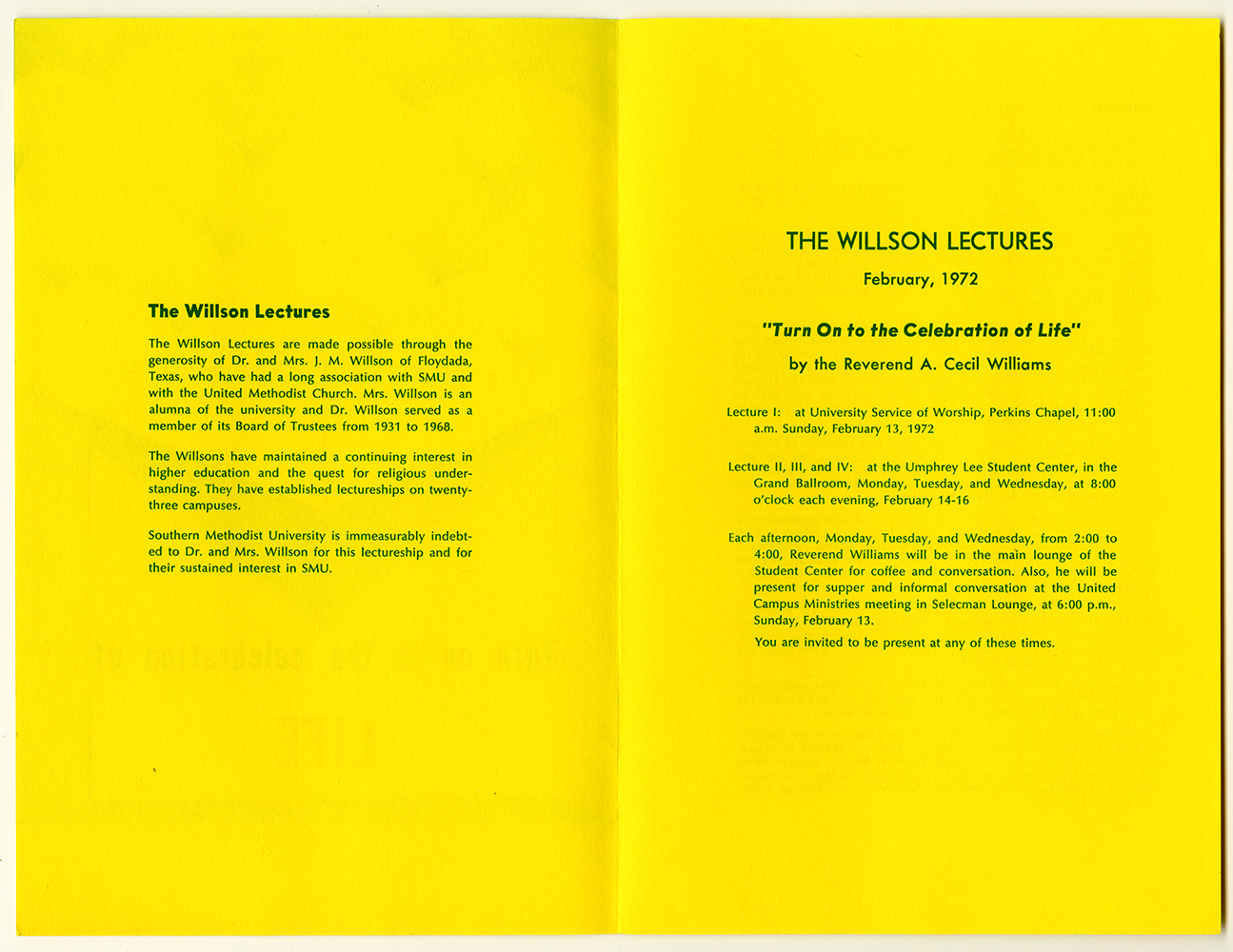 turn on to the celebration of life willson lectures program southern methodist university february 1972 cecil williams - Quest Bergroer Sessel