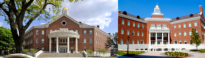 Two images of the exterior of Caruth Hall