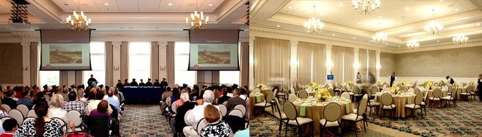 Two pictures of the interior of the The Martha Proctor Mack Grand Ballroom