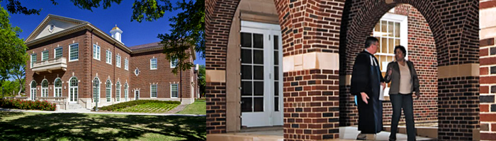 Two pictures of exterior of Elizabeth Perkins Prothro Hall