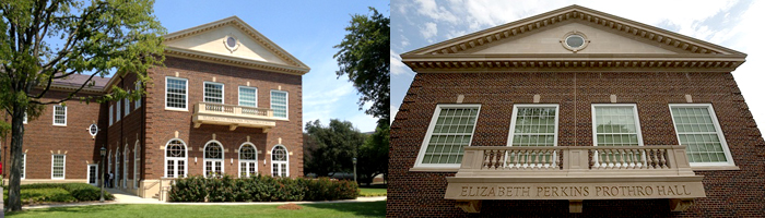 Two picture of exterior of Elizabeth Perkins Prothro Hall