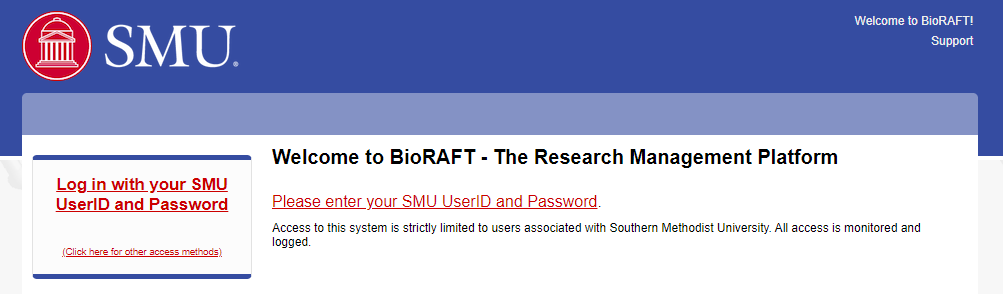 Picture of Bioraft registration page