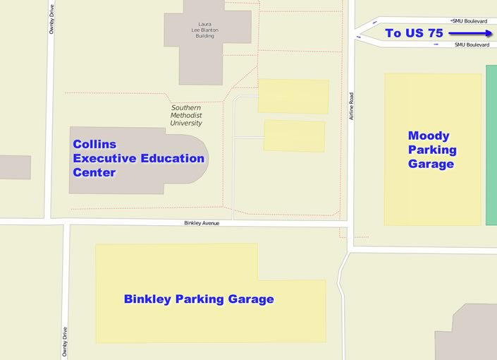 Map of Collins Building and Parking Garages