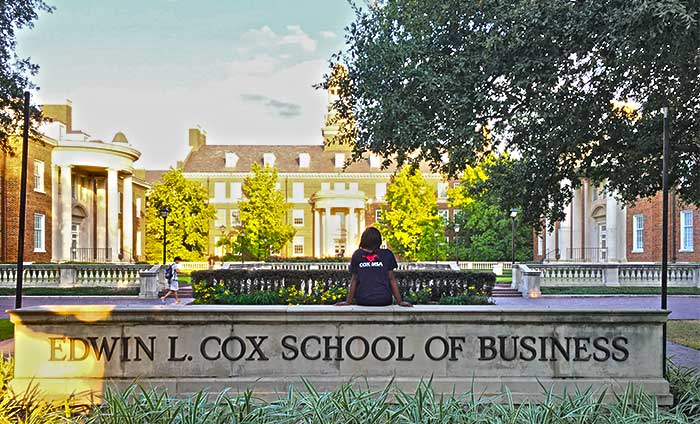 Cox Courtyard with Student