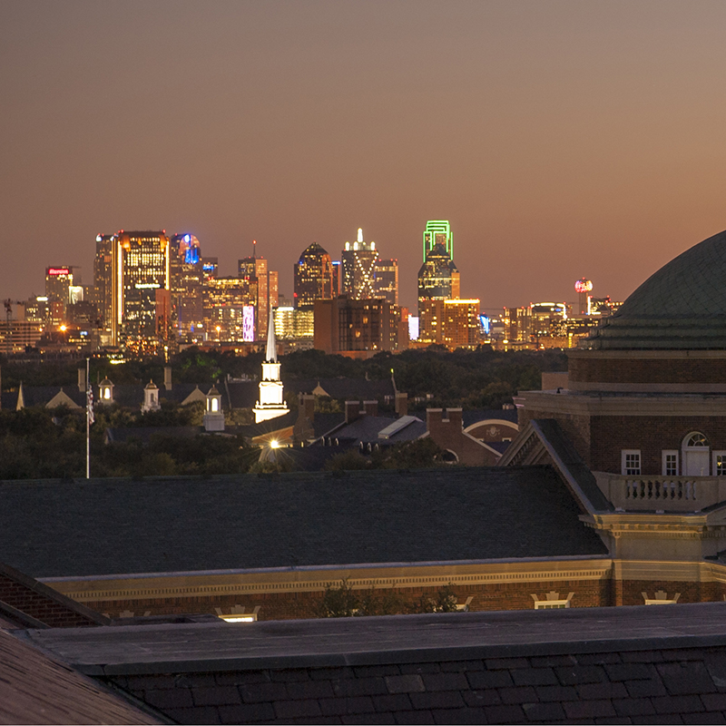 Dallas Skyline at Night as Seen from the SMU Campus.