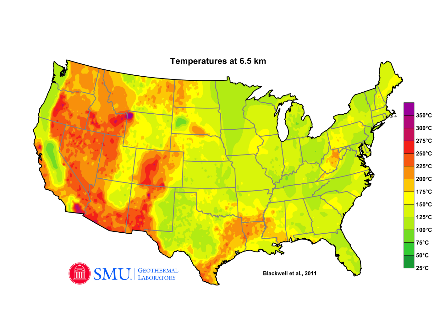 Temperature Maps Dedman College SMU - Geothermal map of the us