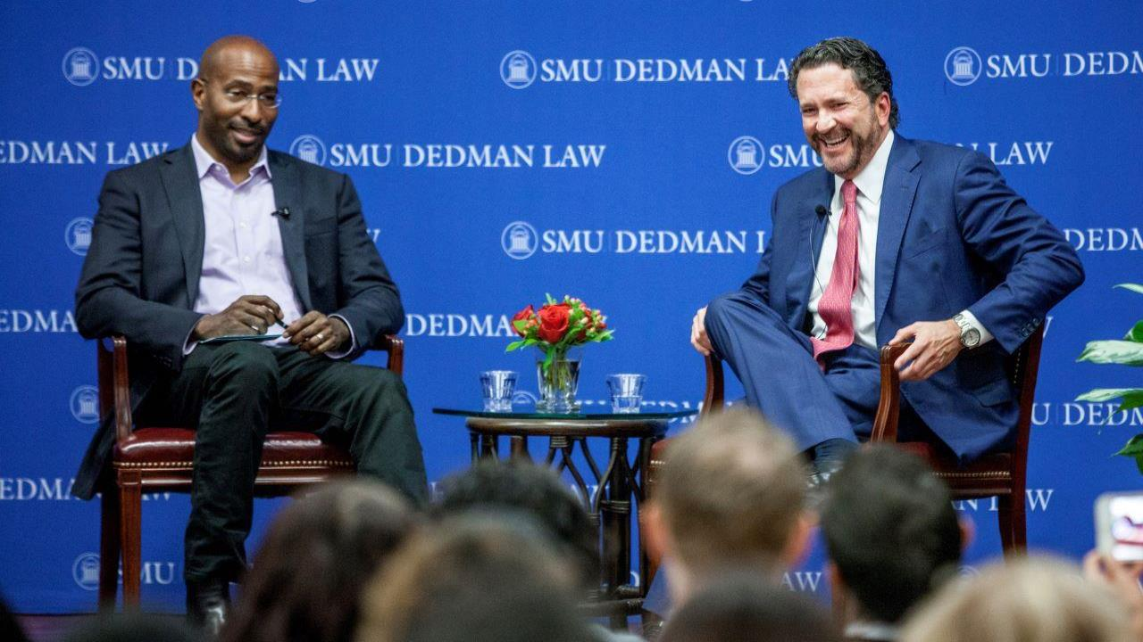 Van Jones and Doug Deason talk about bipartisan criminal justice reform at the Deason Center's Unlikely Allies event