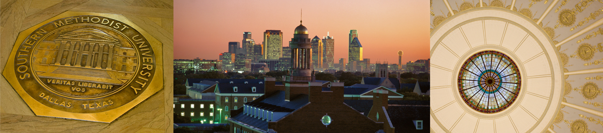 Office of Legal Affairs Web Banner, showing inside of Dallas Hall cupola, dallas skyline in the evening, and the University Seal cast in bronze