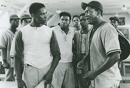 Denzel Washington, William Allen Young, and Larry Riley in A Soldier's Story, 1984