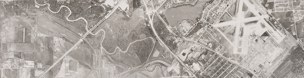 Close up from Trinity River, south of Dallas Love Field (unlabeled), 1945, showing Love Field and Bachman Lake