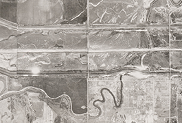 Grid 06 close up showing Trinity River, south of Dallas Love Field, 1945