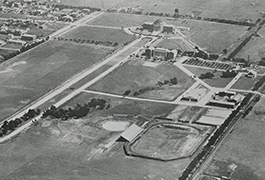 Early aerial of SMU, ca. 1920s, showing the campus and Park Cities area