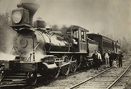 [Barclay Railroad, Locomotive 2 with Tender and Cars], 1895