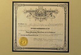 Texas law license certificates for J.L. Turner and his son.