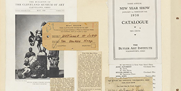 The Bulletin of the Cleveland Museum of Art, May, 1940; [The Cleveland Museum of Art Entry Card for ''The Broken Hoop'']; ''Print Club Buys Pieces'' Newspaper Clipping; Third Annual New Year Show Catalogue; [New Year Show Entry Card for ''Finale'']