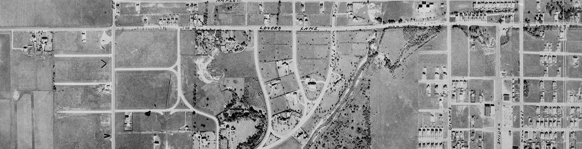 Close up of University Park Area (unlabeled) showing Lovers Lane and Snider Plaza
