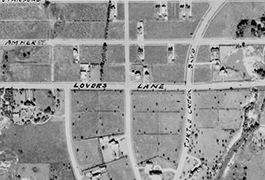 Close up of University Park Area (unlabeled) showing Lovers Lane
