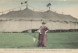 Sarah Bernhardt in front of her tent where she played at Dallas, Texas, during her last tour in America,December 11, 1912, by Henry Clogenson