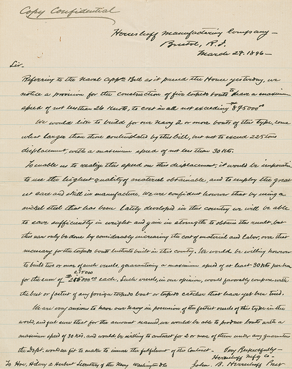 [Letter to George Converse from John Herreshoff]