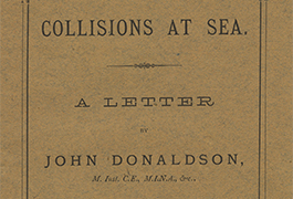 Collisions at Sea. A Letter by John Donaldson, M. Inst. C.E., M.I.N.A., etc.