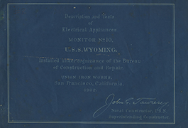 Description and Tests of Electrical Appliances, Monitor No. 10, U.S.S. Wyoming [cover]