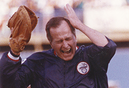 [President George H. W. Bush After Throwing Opening Pitch at Texas Rangers Opening Game]