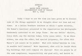 [Address by Mayor Erik Jonsson to the Salesman Club of Dallas, Version 3]