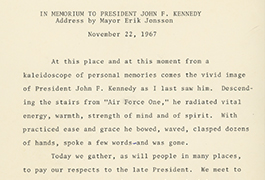 In Memorium to President John F. Kennedy