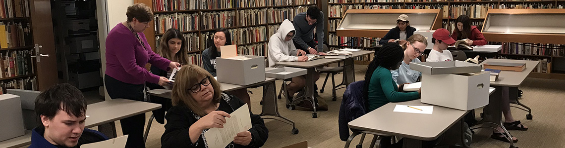 Students conduct research in the SMU Archives for their oral history projects.