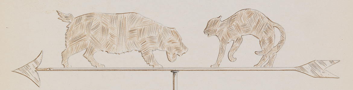 [Weather Vane with Fighting Dog and Cat Ornament], 1945
