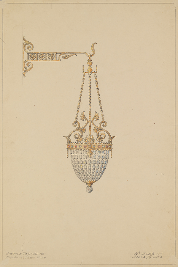 [Wall-Mounted Crystal Urn Pendant with Baroque Leaf Motif and Fleur-de-lis and Gemstone Accents], 1947