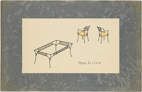 [Modern Rectangular Patio Table and Chair Set with Mesh Motif], 1952