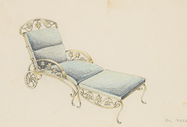 [Patio Chair and Footstool with Cushions, Maple Leaf Motif, and Scrollwork Accents], 1941