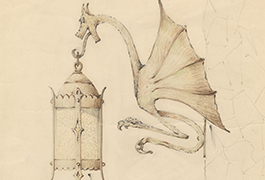 [Lantern Wall Sconce with Dragon Design], 1934