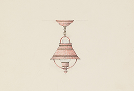 [Red Painted Tole Lantern Pendant with Metal Shade in the Early American Style], 1941
